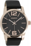Oozoo Timepieces Three Hands Rose Gold Leather Strap C7024