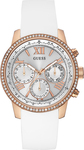 Guess Ladies Crystal Multifunction Rose Gold Stainless Steel Rubber Strap W0616L1