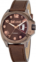 Just Cavalli Just Escape Multifunction Brown Leather Strap R7251213002