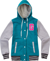 GRAVITY COLLEGE BUTTON HOODIE GIRLS PETROL/LT GREY