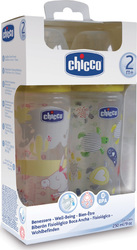 Chicco Well Being, Πλαστικά Μπιμπερό, Θηλή Σιλικόνης, 250ml