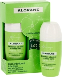 Klorane Efficacite 24h A L' Althea Blanc Roll On 2x40ml