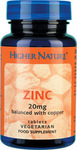 Higher Nature Zinc 20mg With Copper 90 φυτικές κάψουλες