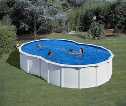 Gre Eight form pool in white steel 500x340x120cm Πλήρης Πισίνα