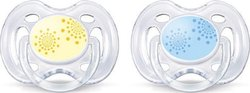 Philips Avent Contemporary Freeflow Pacifier SCF180/23 Κίτρινο & Μπλε 0-6m 2τμχ