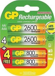 GP Batteries 4xAA 2600mAh + 4xAAA 800mAh (8τμχ)