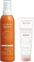 Avene Eau Thermale Very High Protection Spray Spf50+ 200ml & Eau Thermale Gentle Shower Gel 100ml