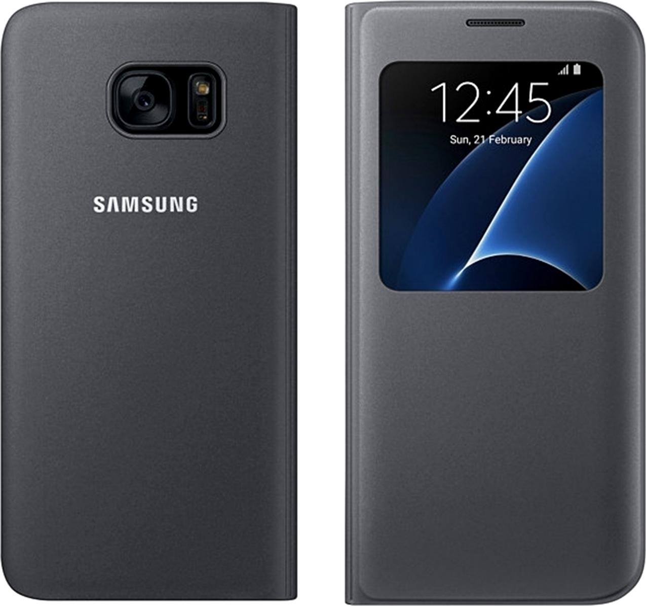 Samsung Galaxy S7 Edge Spigen Carbon Case Menu S View Cover Black