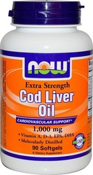 Now Foods Cod Liver Oil Extra Strength 1000mg 90 μαλακές κάψουλες