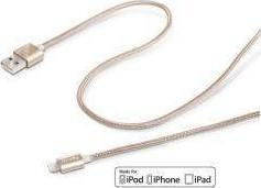 Celly Regular USB to Lightning Cable Χρυσό 1m (USBLIGHTTEXGD)