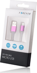 Forever LED USB 2.0 to micro USB Cable Pink 1m (5900495352859)