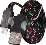 Tel1 Braided Flat USB to Lightning Cable Μαύρο 1m (5900217169581)