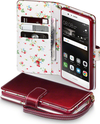 Terrapin Floral Wallet για Huawei P9 Lite Red with Floral Interior
