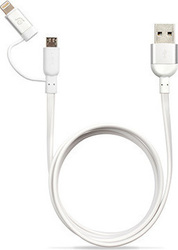 Adam Elements PeAk Duo 120F Flat USB to Lightning/micro USB Cable Λευκό 1.2m (10-PEAKDUOFSL)