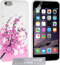 YouSave Accessories Floral Bee Silicone Gel Case (iPhone 6/6s Plus)