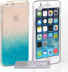 YouSave Accessories Raindrop Hard Case Blue-Clear (iPhone 6/6s)
