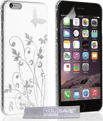 YouSave Accessories Floral Butterfly Hard Case White (iPhone 6/6S Plus)
