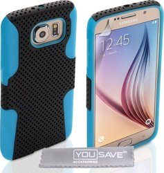 YouSave Accessories Tough Mesh Combo Silicone Case Blue (Galaxy S6)