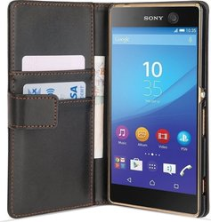YouSave Accessories Leather-Effect Wallet Case Black (Xperia M5)