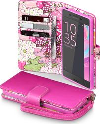 Terrapin Floral Wallet Pink with Lily Interior (Xperia X)