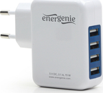 Gembird 4x USB Wall Adapter Λευκό (EG-U4AC-01)