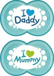 Mam Love Mommy & Daddy Latex, Bahama Blue 6m+ 2τμχ