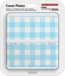 Nintendo Cover Plate 013 Blue White Checked New 3DS