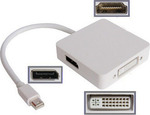 OEM mini DisplayPort male - DVI-I/DisplayPort/HDMI female (0224)