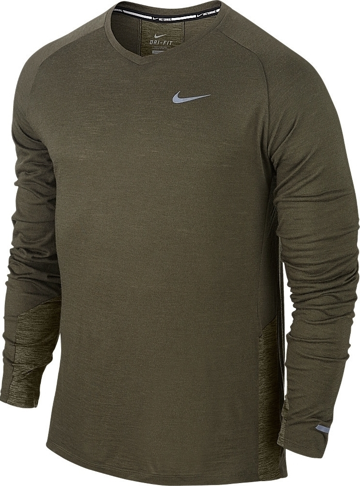Nike dri fit wool long sleeve running shirt 688743 325 for Under armour dri fit long sleeve shirts