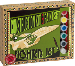 Professor Puzzle Construction & Paint Set - Fighter Jet