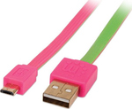 Manhattan Flat USB 2.0 to micro USB Cable Pink/Green 1m (391443)