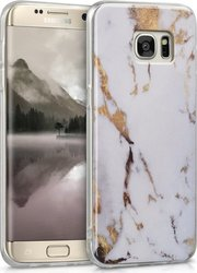 KW Back Cover Σιλικόνης Marble White/Gold (Galaxy S7 Edge)