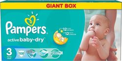 Pampers Active Baby Dry Giant Box No3 (4-9kg) 108 τμχ