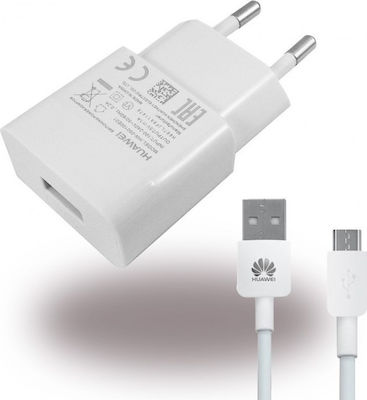 Huawei micro USB Cable & Wall Adapter Λευκό (HW-050200E01)