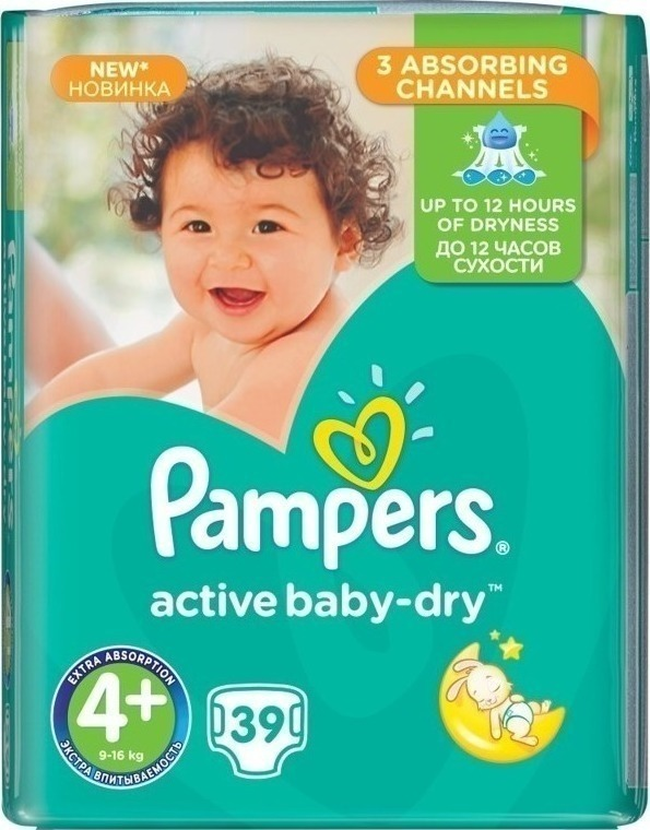 Pampers Active Baby Dry No4+ (9-16kg) 39 τμχ eba5039a86f