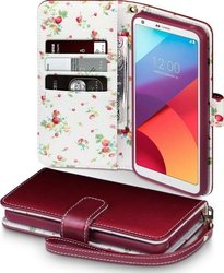 Terrapin Wallet Red with Floral Interior (LG G6)