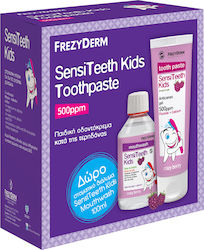 Frezyderm Sensiteeth Kids Toothpaste 500ppm 50ml & Mouthwash 100ml