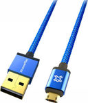 XtremeMac Braided USB 2.0 to micro USB Cable Μπλε 1.2m (XCL-RMU-23)
