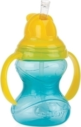 Nuby Εκπαιδευτικό Ποτηράκι Twin Handle Flip It 360 Straw Light Blue 300ml
