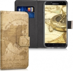 KW Wallet World Map Vintage Καφέ (Galaxy J5 2017)