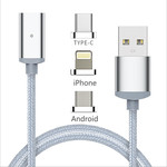 OEM Braided / Magnetic USB to Lightning / Type-C / micro USB Cable Ασημί 1,2m (Mag-GL-OEM-LD95)