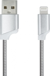iSelf Braided USB to Lightning Cable Silver 1m (USBMETALLS)