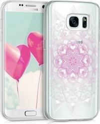 KW Heart Pattern Light Pink White Transparent (Galaxy S7)