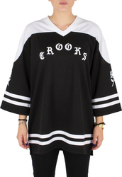 CROOKS AND CASTLES T-Shirt Ladies Knit 3/4 Slv Hockey Jersey - Crooks