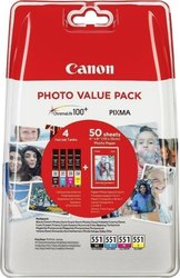 Canon CLI-551 C/M/Y/BK Photo Value Pack (6508B005)