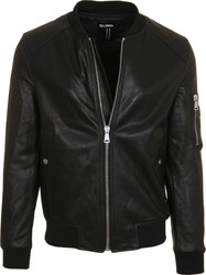 YES LONDON M BOMBER PELLE LEATHER JACKET - XNP4282-NERO BLACK