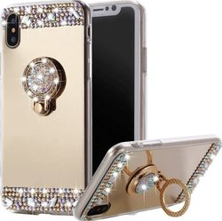 Caseflex Mirrored Diamonds TPU Μπεζ (iPhone X)