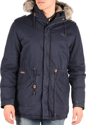 Basehit Long Jacket with Fur on Hood Navy