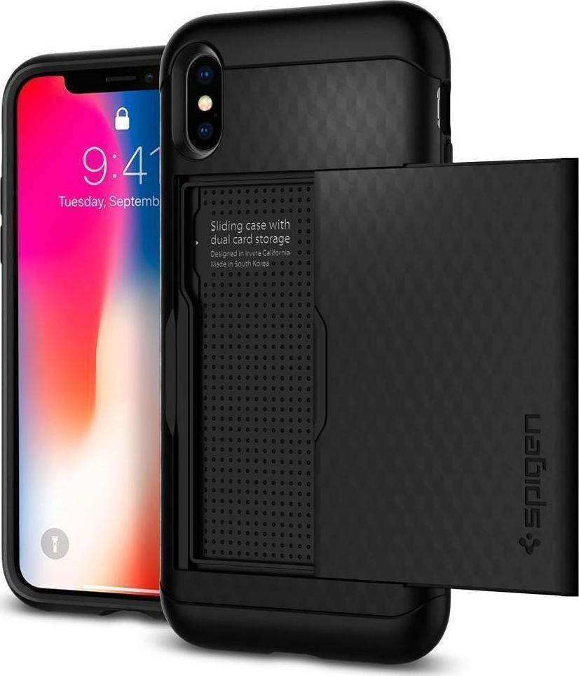 best service 2aa9d 04817 Spigen Crystal Wallet Black (iPhone X)