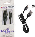 Volte-Tel Braided / Magnetic USB 2.0 Cable USB-C male - USB-A male Μαύρο 1m (8201974)